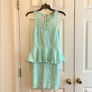 Aqua blue f21 contemporary peplum dress